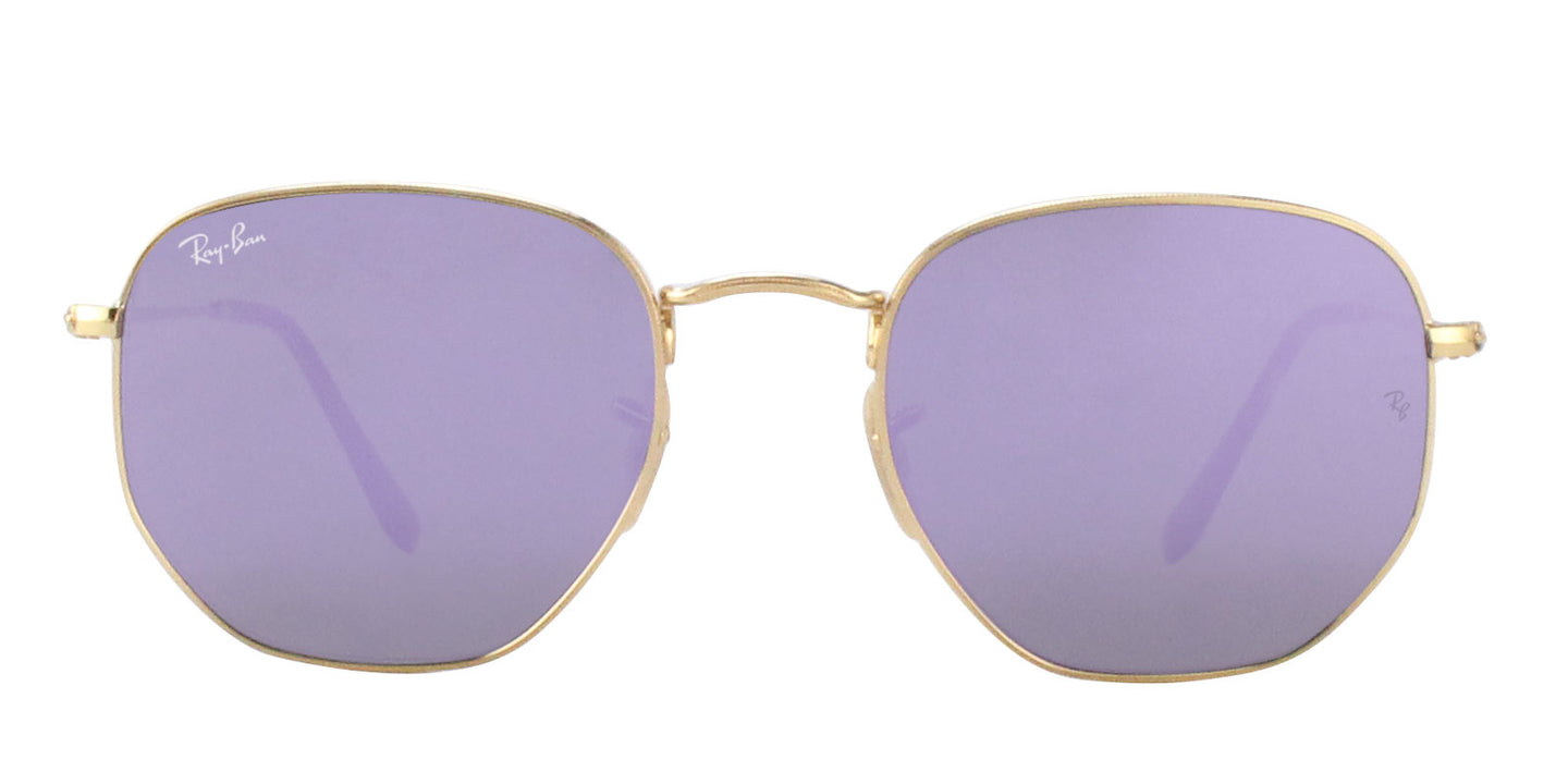 Ray Ban - RB3548N Gold/Purple Mirror Oval Unisex Sunglasses - 54mm