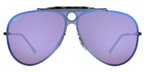 Ray Ban - Blaze Shooter Black/Violet Blue Mirror Aviator Unisex Sunglasses - 32mm