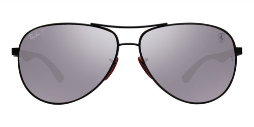 Ray Ban - RB8313M Black/Burgandy Silver Mirror Polarized Aviator Unisex Sunglasses - 61mm