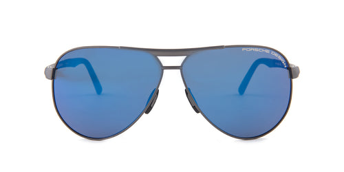 Porsche Design P8649 Gunmetal / Blue Lens Mirror Sunglasses