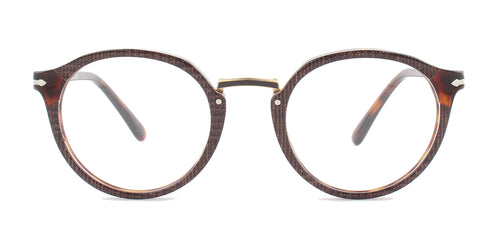 Persol - PO3185-V Brown Round Unisex Eyeglasses - 48mm