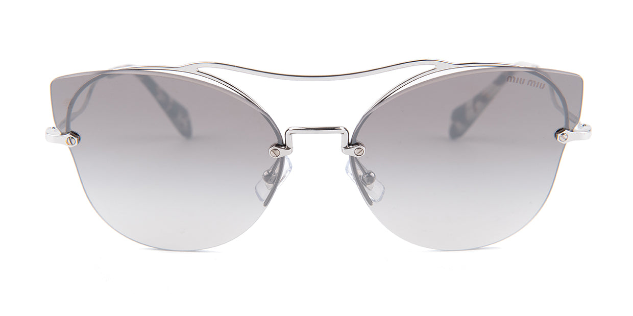 Miu Miu - MU52SS Silver/Gray Gradient Oval Women Sunglasses - 62mm
