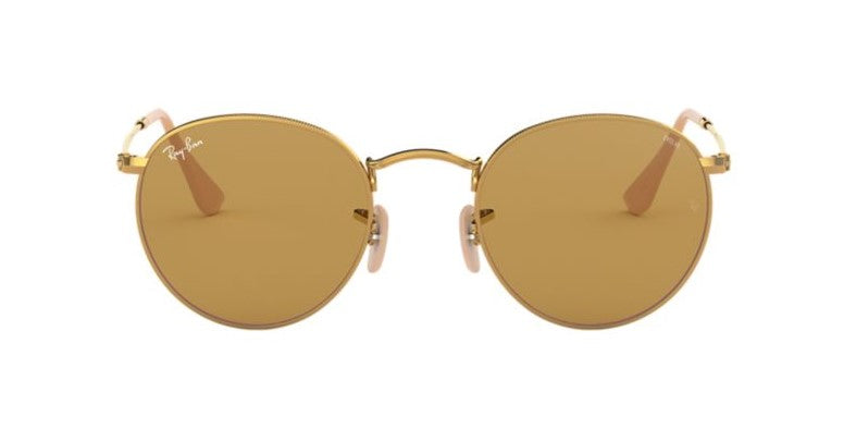 Ray Ban - Round Metal Gold/Brown Oval Unisex Sunglasses - 50mm