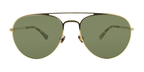 Mykita - Samu Gold/Green Aviator Unisex Sunglasses - 55mm