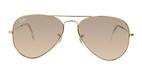 Ray Ban - Aviator Gradient Gold/Brown Mirror Unisex Sunglasses - 55mm