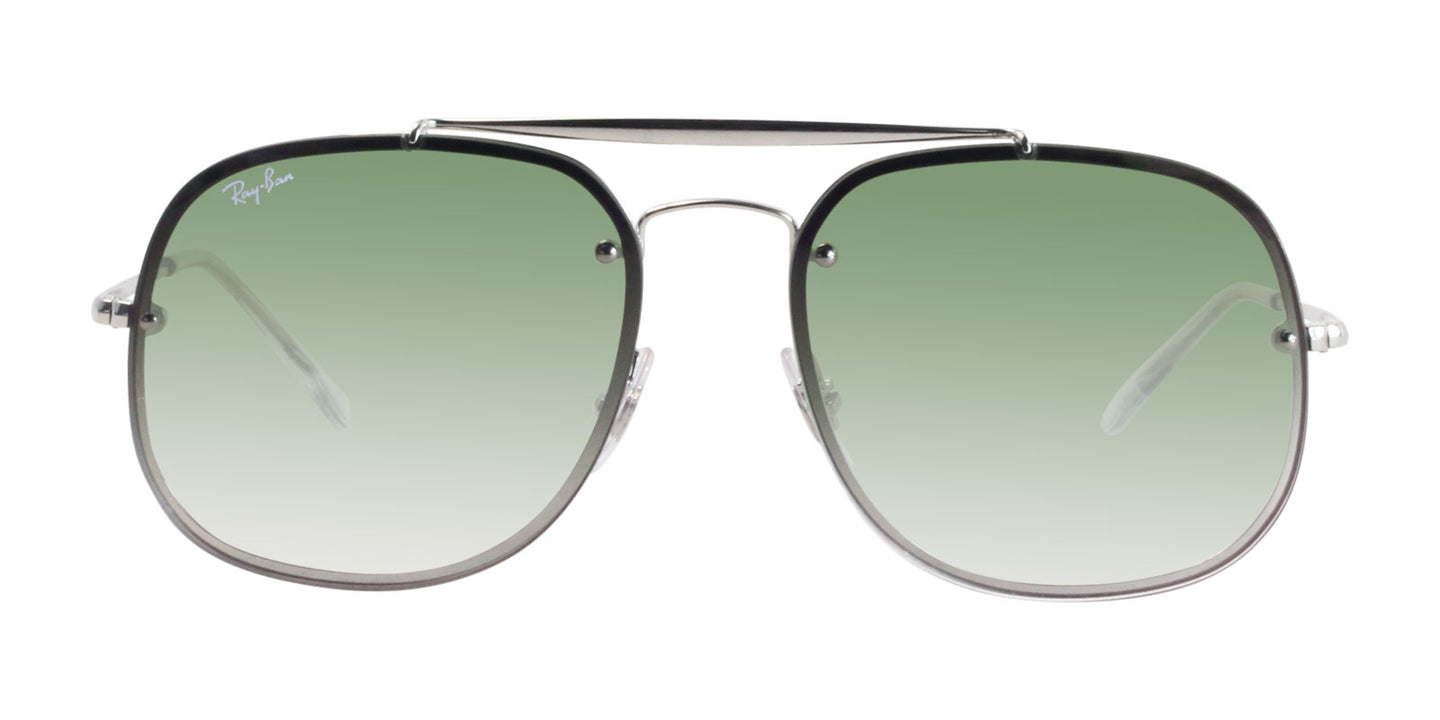 Ray Ban - RB3583N Silver/Green Gradient Rectangular Unisex Sunglasses - 58mm