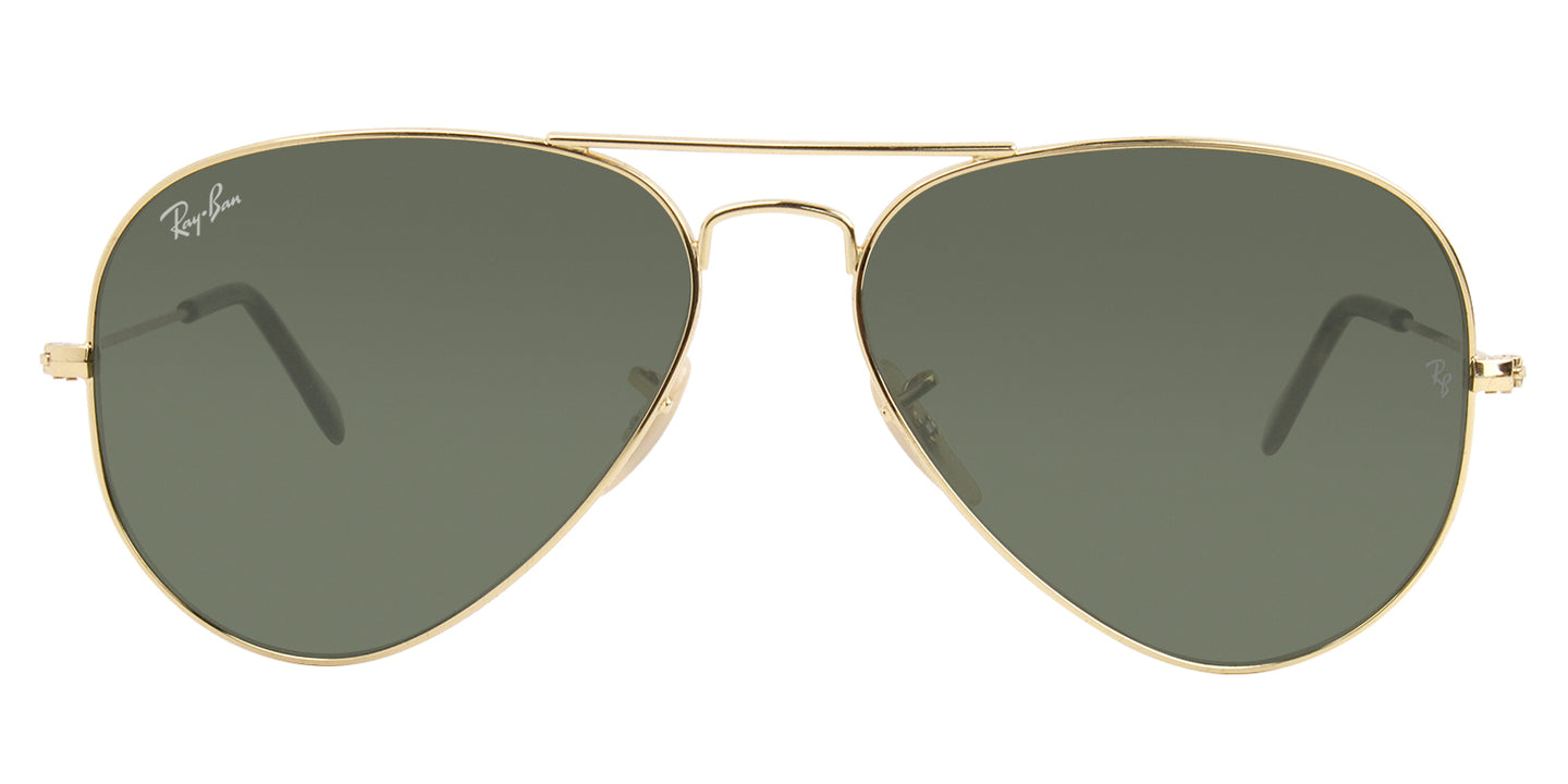 Ray Ban - Aviator Gold Aviator Unisex Sunglasses - 58mm