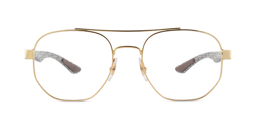 Ray Ban Rx - RX8418 Gold Square Unisex Eyeglasses - 51mm