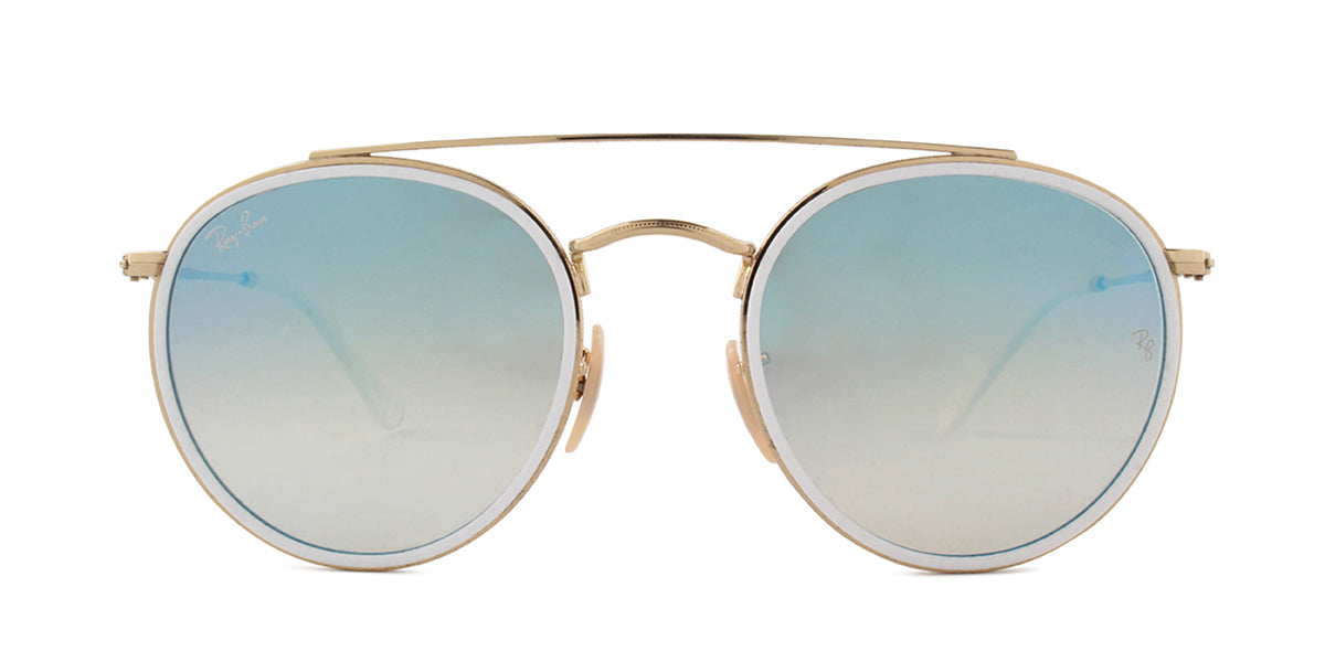 Ray Ban - RB3647 White/Blue Mirror Round Women Sunglasses - 51mm