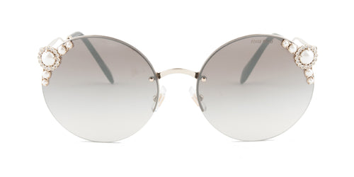 Miu Miu - MU52TS Gold Oval Women Sunglasses - 60mm