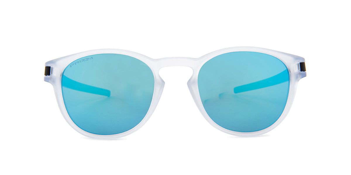 Oakley - Latch Crystal/Blue Round Unisex Sunglasses - 53mm