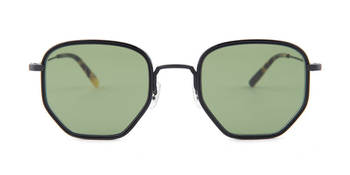 Oliver Peoples Alland Black / Green Lens Sunglasses