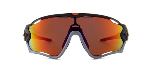 Oakley Jawbreaker Gray / Red Lens Mirror Sunglasses