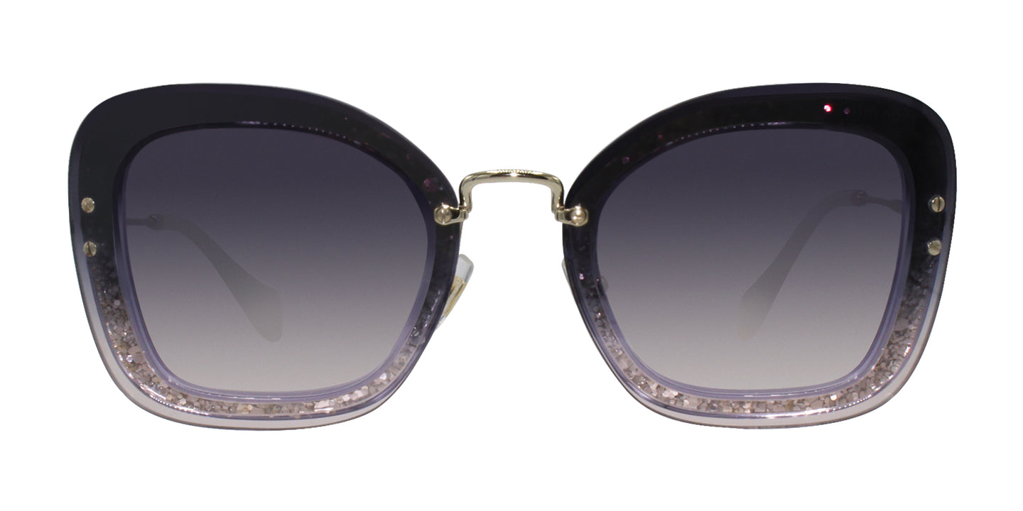 Miu Miu - MU02TS Purple/Blue Gradient Rectangular Women Sunglasses - 65mm