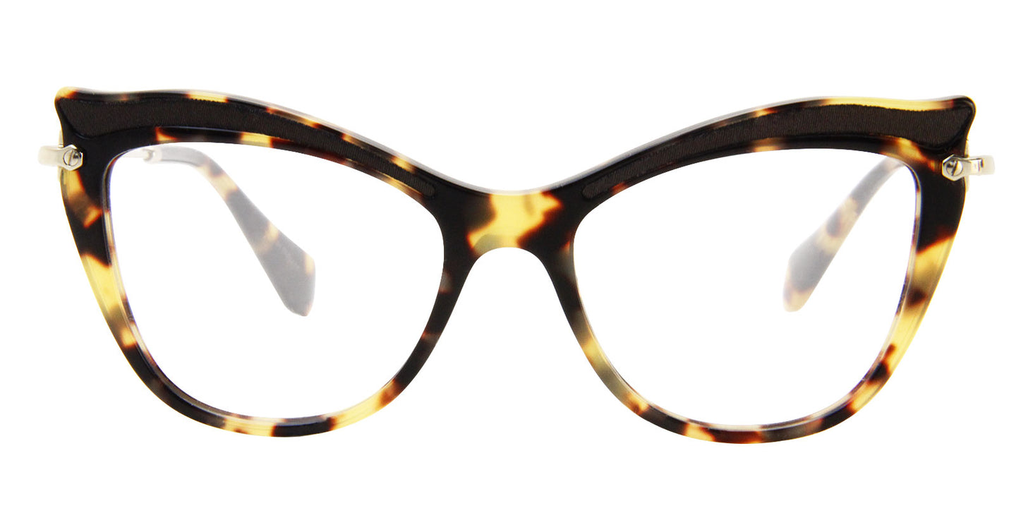 Miu Miu - MU06PV Tortoise/Clear Oval Women Eyeglasses - 51mm