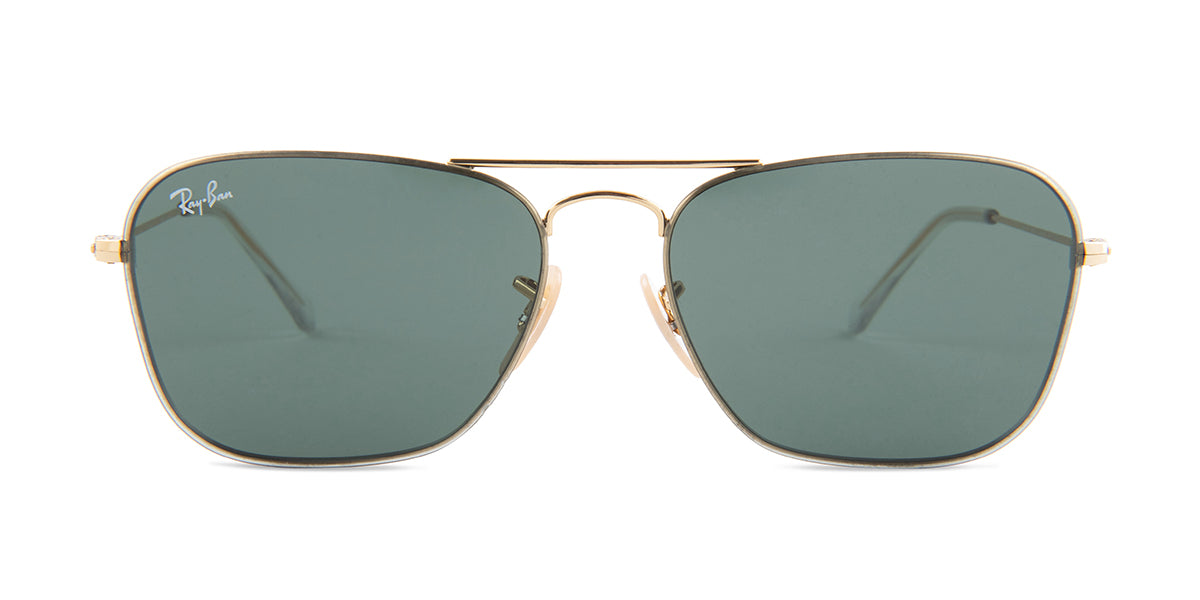 Ray Ban - RB3603 Gold/Green Rectangular Unisex Sunglasses - 56mm