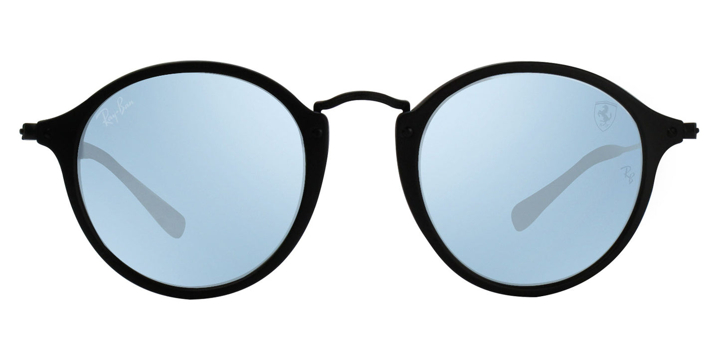 Ray Ban - Scuderia Ferrari Black/Blue Mirror Oval Unisex Sunglasses - 49mm