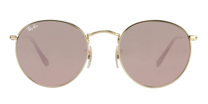 Ray Ban - Round Flat lenses Gold/Pink Mirror Oval Unisex Sunglasses - 50mm
