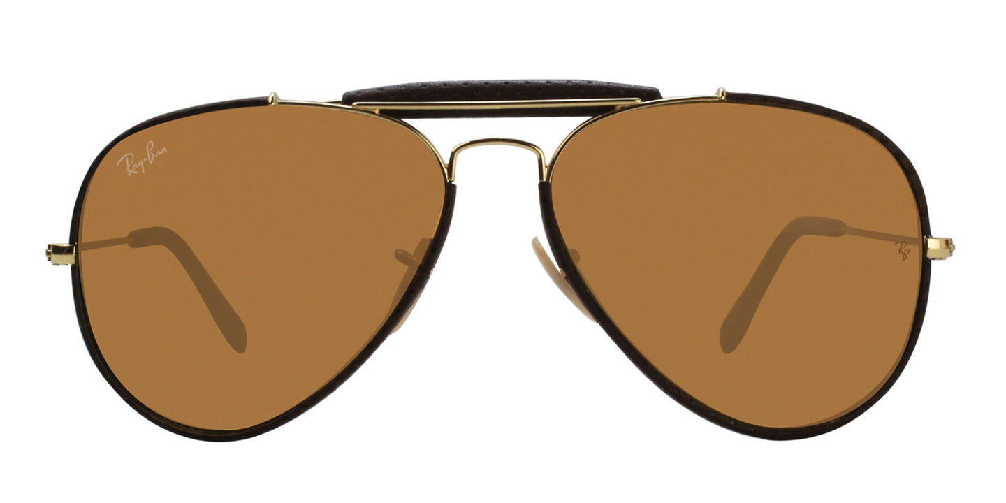 Ray Ban - Outdoorsman Craft Brown/Brown Aviator Unisex Sunglasses - 58mm