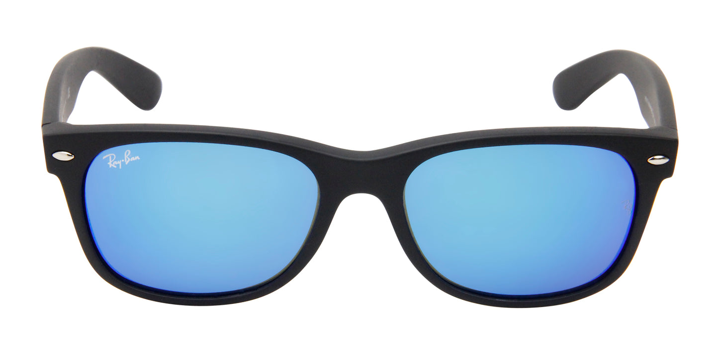Ray Ban - New Wayfarer Black/Blue Mirror Unisex Sunglasses - 55mm