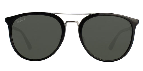 Ray Ban - RB4285 Black/Green Polarized Oval Unisex Sunglasses - 55mm