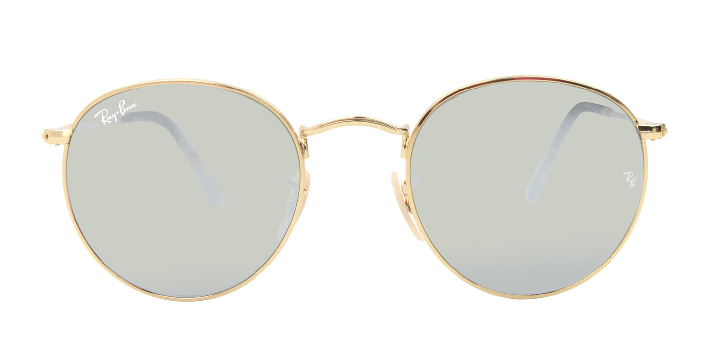 Ray Ban - Round Flat lenses Gold/Silver Mirror Oval Unisex Sunglasses - 50mm