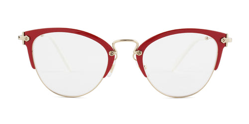 Miu Miu - MU50QV Red/Clear Cat Eye Women Eyeglasses - 52mm