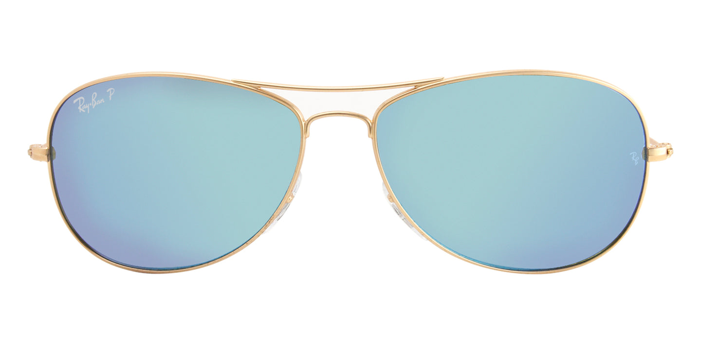 Ray Ban - RB3562 Gold/Blue Mirror Polarized Aviator Women Sunglasses - 59mm