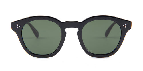Oliver Peoples Boudreau L.A. Black / Green Lens Sunglasses