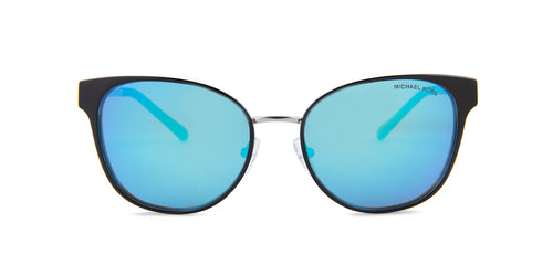 Michael Kors Tai Black / Blue Lens Mirror Sunglasses