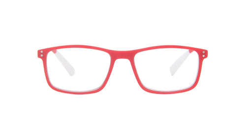 Pantone - N Four +2.00 Red/Clear Rectangular Unisex Readers - 52mm