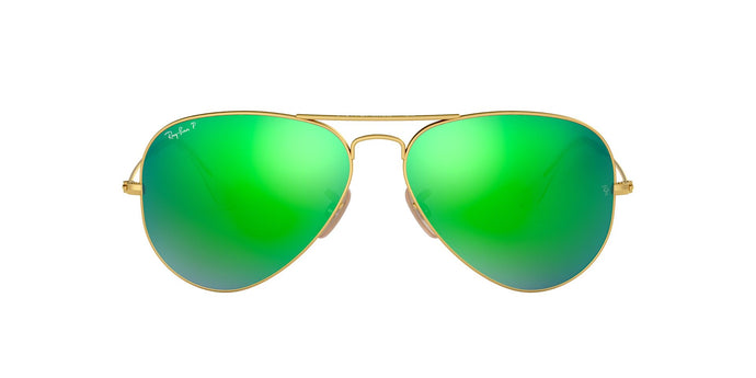 Ray Ban - Aviator Flash Lenses Gold/Green Mirror Polarized Unisex Sunglasses - 58mm