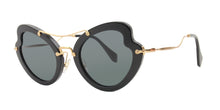 Miu Miu - MU11RS Black/Gray Oval Women Sunglasses - 52mm