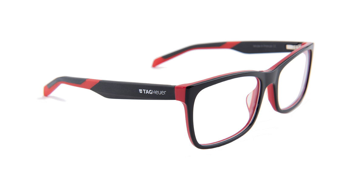 Tagheuer - TH0554 Black Rectangular Men Eyeglasses - 56mm
