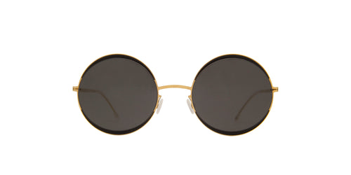 Mykita - Iris Gold Jet Black/Dark Grey Round Unisex Sunglasses - 53mm