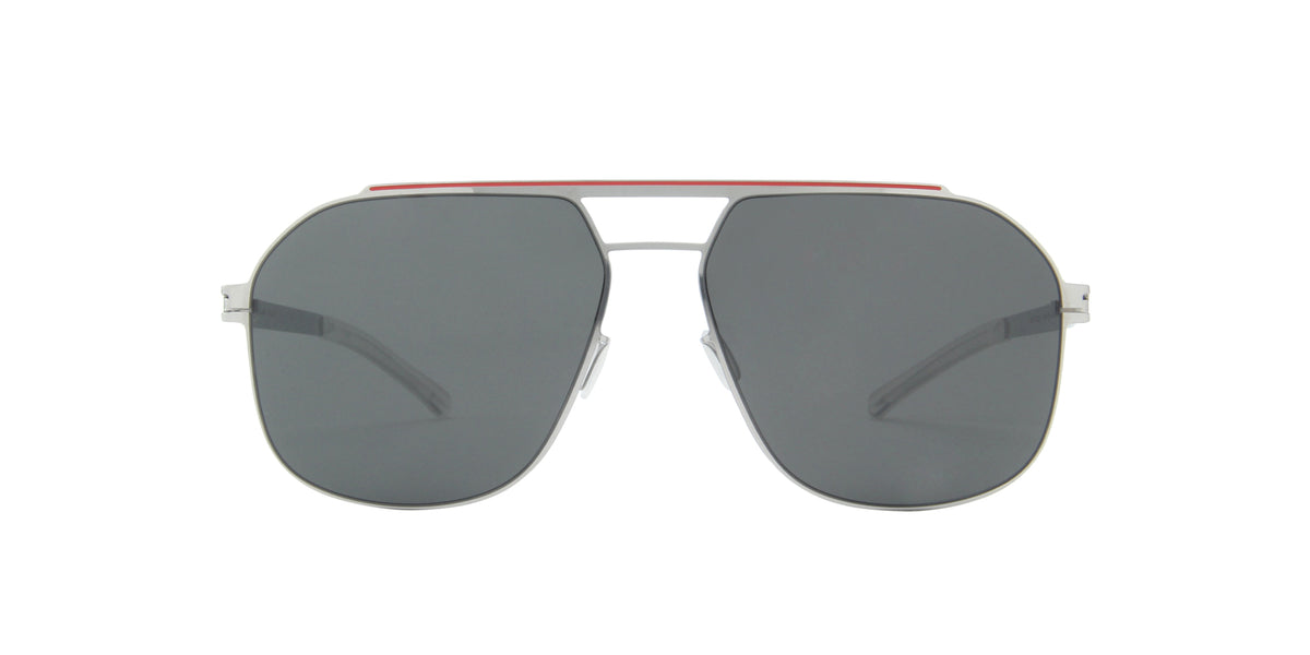 Mykita - Selleck Silver Coral Red/Dark Grey Aviator Unisex Sunglasses - 57mm