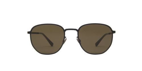 Mykita - Lennard Black/Raw Brown Solid Geometric Unisex Sunglasses - 51mm