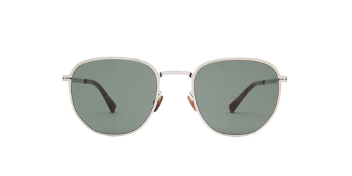 Mykita - Lennard Shiny Silver/Darkgreen Solid Square Unisex Sunglasses - 51mm