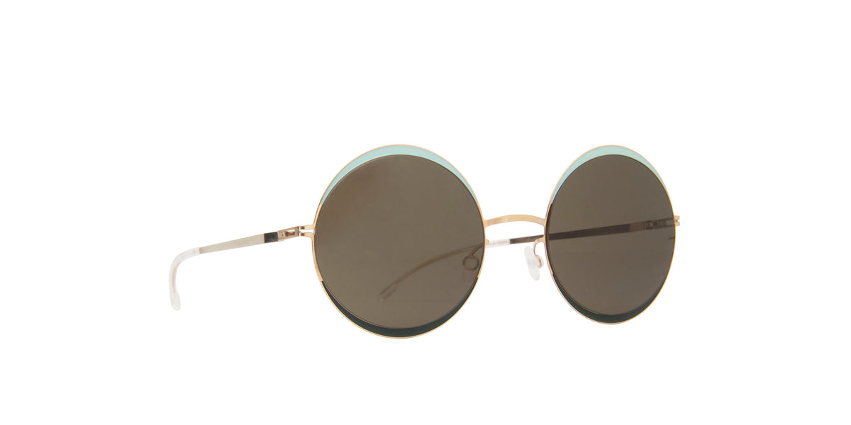 Mykita - Iris Champagne Gold/Green Round Unisex Sunglasses - 53mm