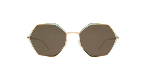Mykita - Alessia Champagne Gold/Green Geometric Unisex Sunglasses - 55mm
