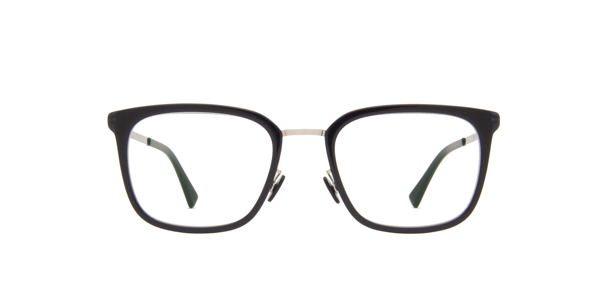 Mykita - Hagen A43-Shinysilver/Dark/Clear Rectangle Unisex Eyeglasses - 50mm