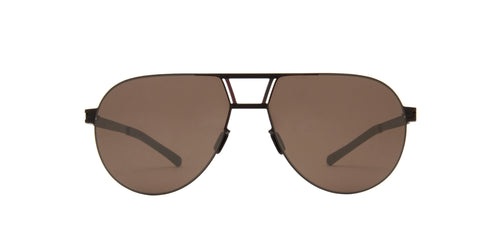 Mykita - Zane Black/Silver/Brown Aviator Unisex Sunglasses - 58mm