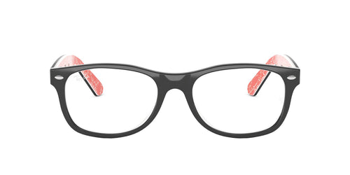 Ray Ban Rx - RX5184 Top Black On Texture Red Square Unisex Eyeglasses - 52mm