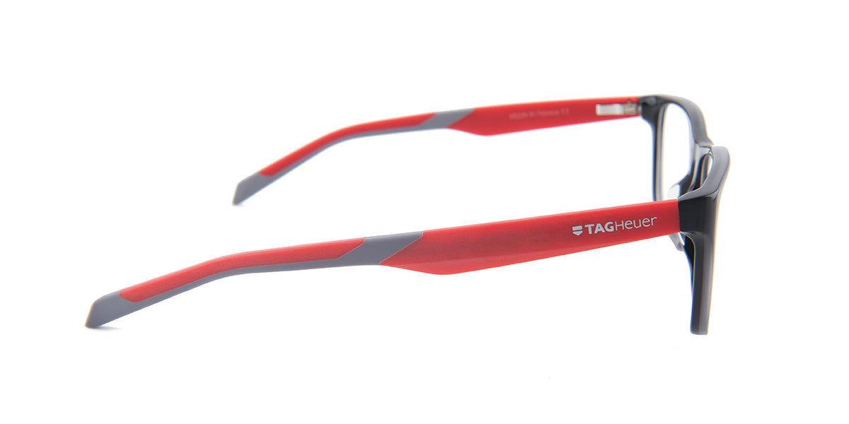 Tag Heuer - TH0552 Gray Red Rectangular Men Eyeglasses - 57mm