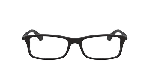 Ray Ban Rx - RX7017 Black Rectangular Men Eyeglasses - 54mm