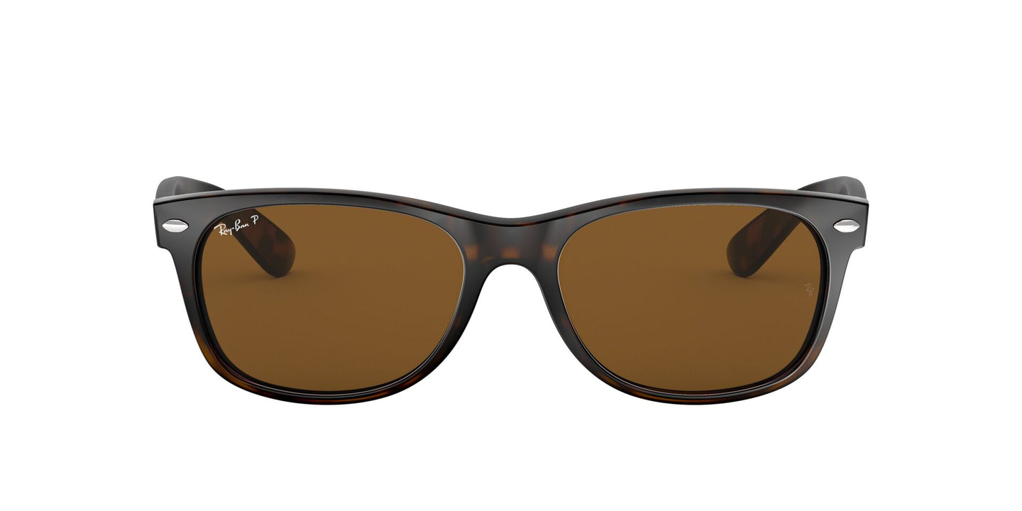 Ray Ban - New Wayfarer Tortoise/Brown Polarized Unisex Sunglasses - 55mm
