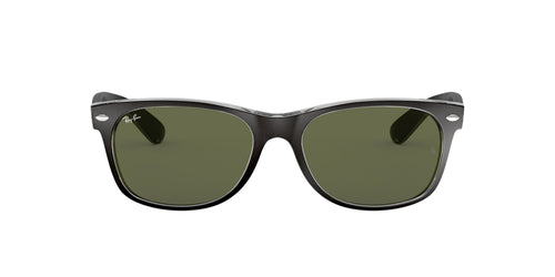 Ray Ban - New Wayfarer Top Black On Transparent/Green Men Sunglasses - 58mm