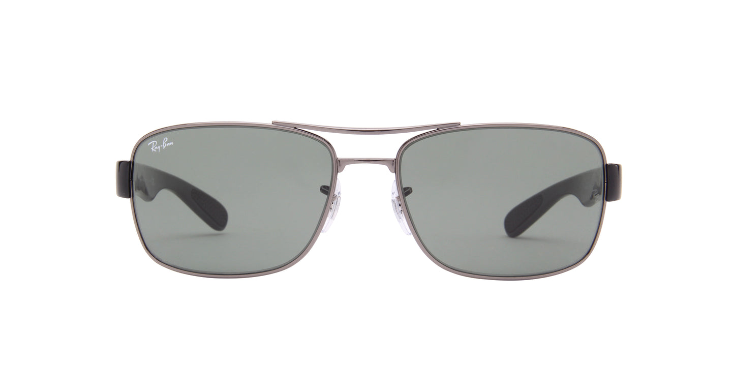 Ray Ban - RB3522 Gray/Green Rectangular Men Sunglasses - 61mm