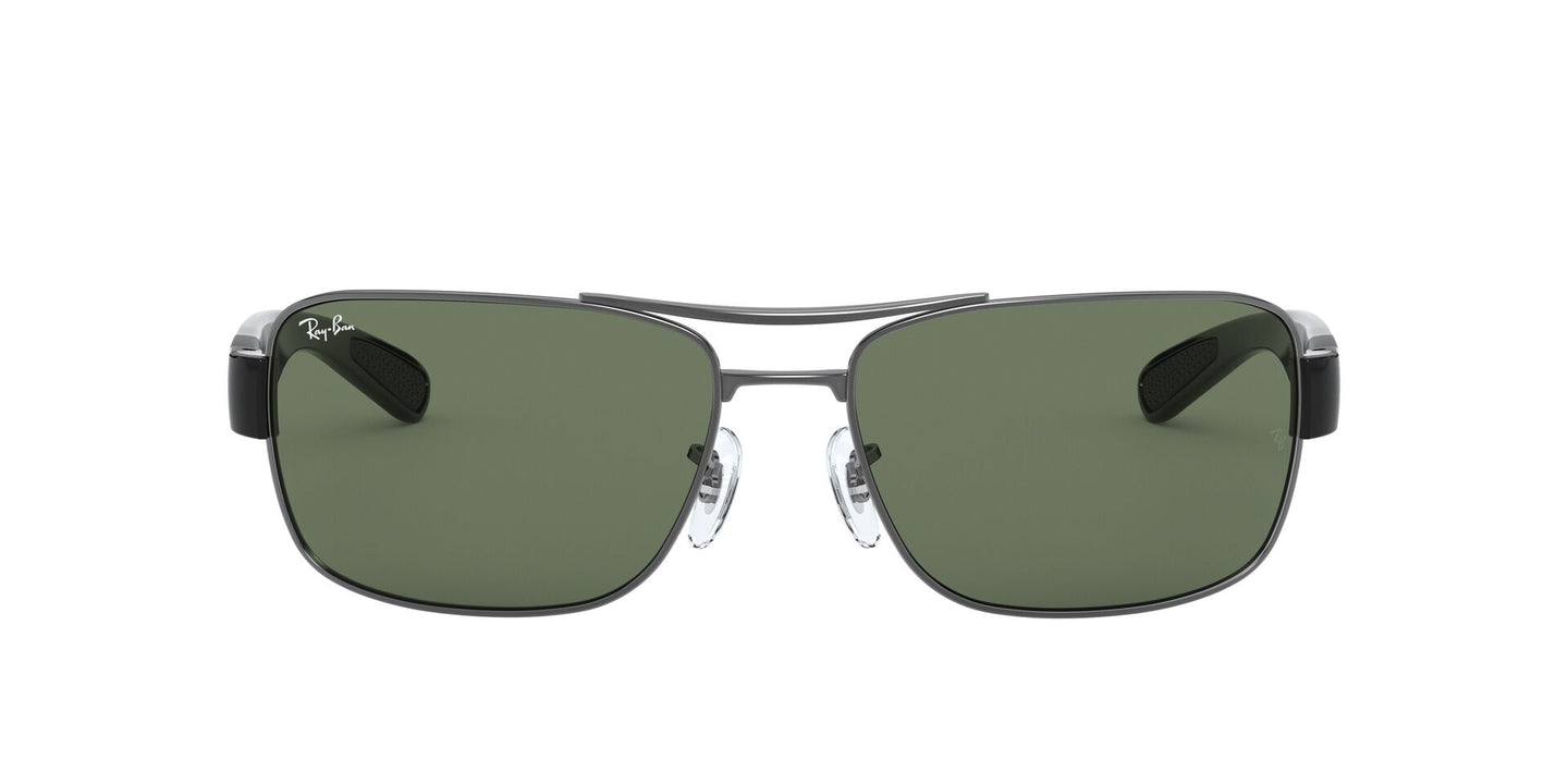 Ray Ban - RB3522 Gray/Green Rectangular Men Sunglasses - 64mm
