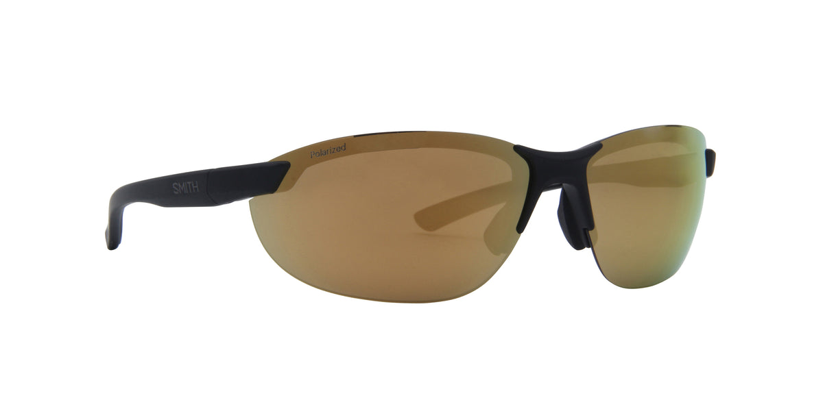 Smith - Parallel 2 Matte Black/Polarized Gold Mirror Oval Unisex Sunglasses - 71mm
